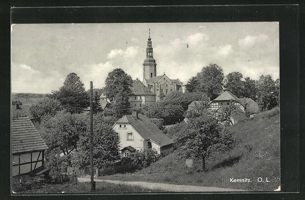 AK Kemnitz, Teilansicht mit Kirche