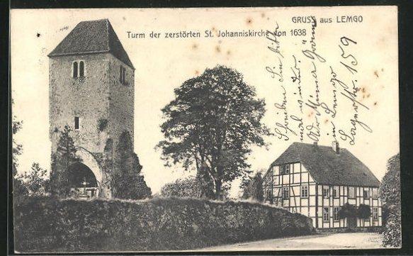 AK Lemgo i. L., Turm der zerstörten St. Johanniskirche