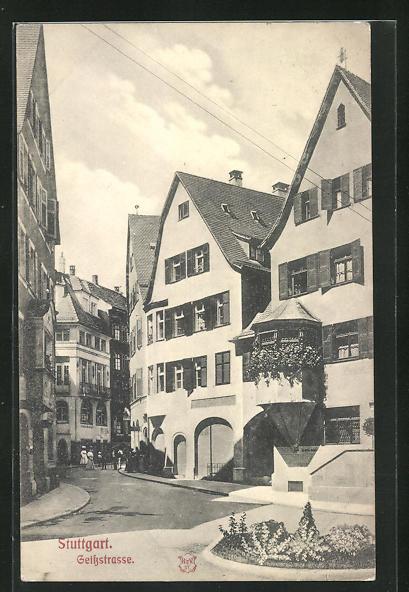 AK Stuttgart, Geissstrasse mit Passanten
