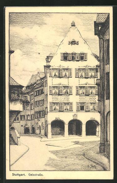 AK Stuttgart, Gaisstrasse mit Treppe