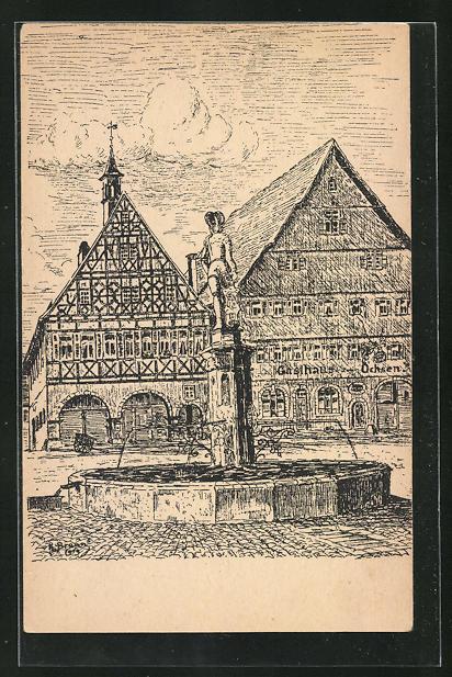 AK Dornstetten im Schwarzwald, Marktbrunnen mit Rathaus