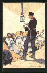 Künstler-AK Carl Moos: Grenzbesetzung 1914, schweizer Soldaten im Heu
