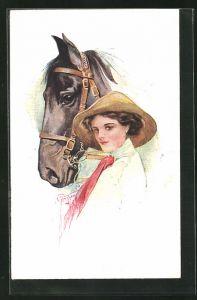 Künstler-AK Court Barber: junge Dame und Pferdekopf