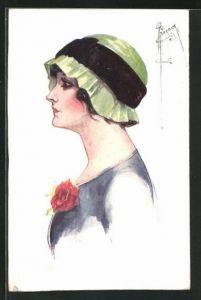 Künstler-AK Court Barber: Freuenprofil mit modischem Hut