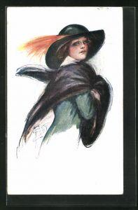 Künstler-AK Court Barber: elegante junge Dame mit Hut