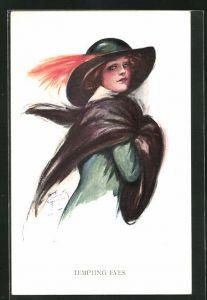 Künstler-AK Court Barber: Tempting Eyes, junge Dame mit modischem Hut