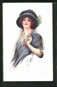 Künstler-AK Court Barber: edle junge Dame mit Perlenkette und Hut