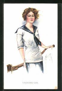 Künstler-AK Court Barber: Yachting Girl, junge Seglerin