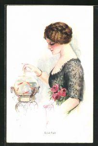 Künstler-AK Court Barber: Gold-Fish, junge Dame mit Goldfischglas