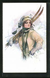 Künstler-AK Court Barber: junge Skiläuferin