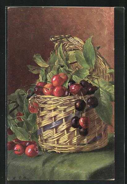 Künstler-AK M. Billing: Stilleben mit Kirschen