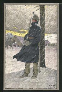 Künstler-AK Carl Moos: Schweizerische Grenzbesetzung 1914, Wachposten