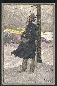 Künstler-AK Carl Moos: Schweizerische Grenzbesetzung 1914, Wachposten im Schnee