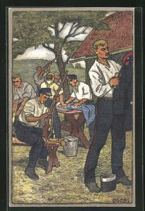 Künstler-AK Carl Moos: Schweizerische Grenzbesetzung 1914, Reinigungsarbeiten