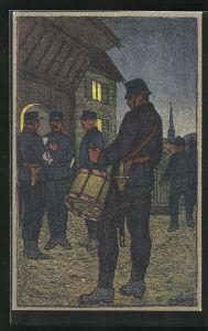 Künstler-AK Carl Moos: Schweizerische Grenzbesetzung 1914, Zapfenstreich