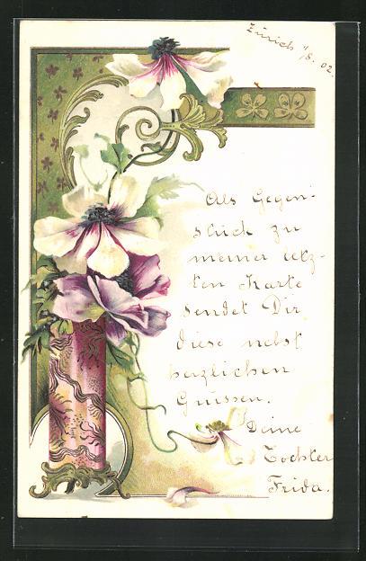 Präge-Lithographie Blüten und Ornamente