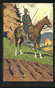Künstler-AK Carl Moos: Schweizer Grenzbesetzung 1914, Kavallerie