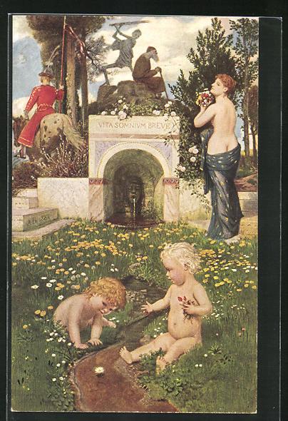 Künstler-AK Arnold Böcklin: Vita somium breve, Allegorie des Lebens
