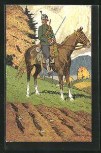 Künstler-AK Carl Moos: Schweizerische Grenzbesetzung 1914, Kavallerie