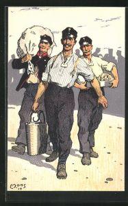 Künstler-AK Carl Moos: Schweizerische Grenzbesetzung 1914, Soldatenleben