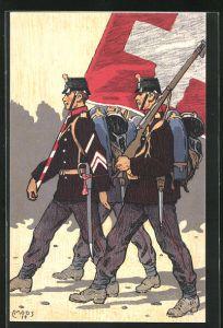 Künstler-AK Carl Moos: Schweizerische Grenzbesetzung 1914, Fahnenträger