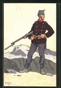 Künstler-AK Carl Moos: Schweizerische Grenzbesetzung 1914, Infanterist