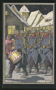 Künstler-AK Carl Moos: Schweizerische Grenzbesetzung 1914, Ausmarsch bei Nacht
