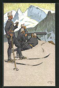 Künstler-AK Carl Moos: Schweizerische Grenzbesetzung 1914, Gebirgsinfanterie-Mitrailleure