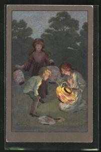 Künstler-AK S. Barham: Kinder mit Laternen