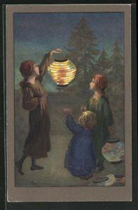 Künstler-AK S. Barham: Kinder bestaunen Laterne