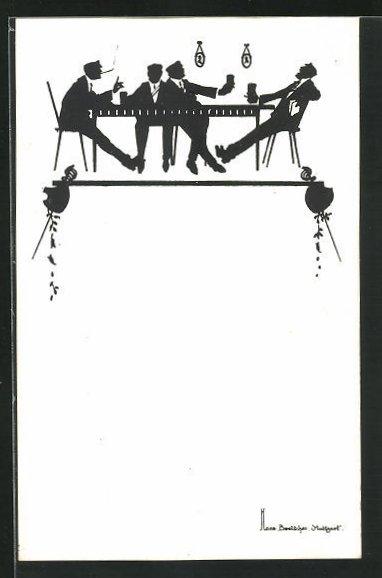 Künstler-AK Hans Boettcher: Schattenbild, Studentenkneipe