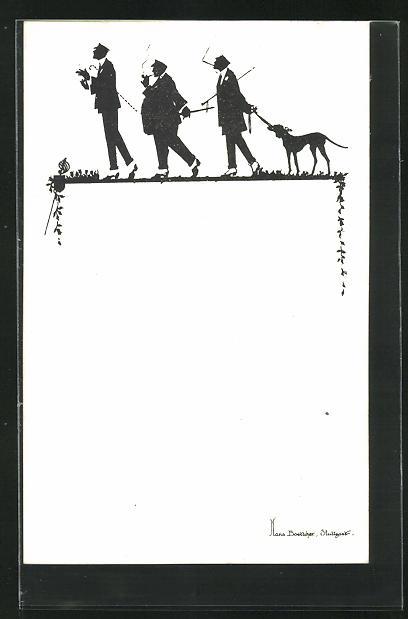 Künstler-AK Hans Boettcher: Schattenbild, Studenten mit Hund