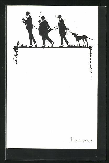 Künstler-AK Hans Boettcher: Schattenbild, Burschenschaftler, Studenten