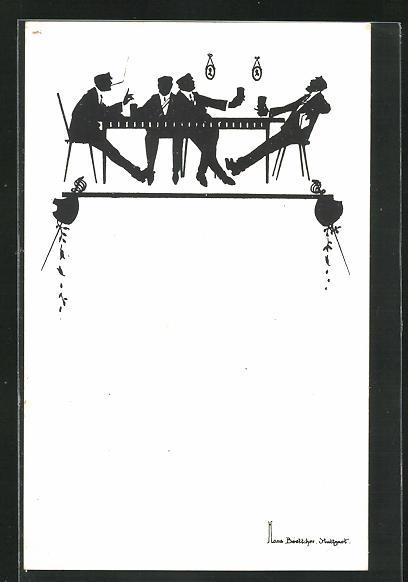 Künstler-AK Hans Boettcher: Schattenbild, Studentenkneipe, Burschenschaft