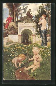 Künstler-AK Arnold Böcklin: Vita somnium breve, Allegorie, Kindheit bis Tod