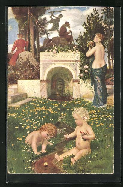 Künstler-AK Arnold Böcklin: Vita somnium breve, Allegorie auf das Leben