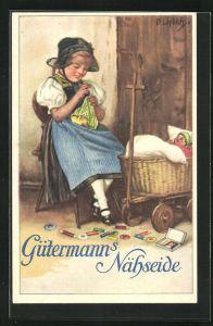 Künstler-AK Curt Liebich: Gütermann`s Nähseide, Puppenmutter