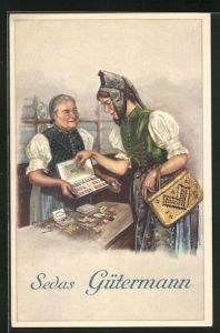 Künstler-AK Curt Liebich: Sedas Gütermann, Reklame für Nähseide, Trachten
