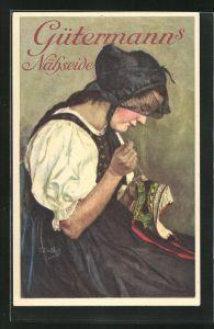 Künstler-AK Curt Liebich: Gütermanns Nähseide, Maid in Tracht