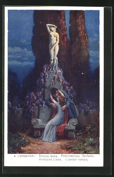 Künstler-AK Adolf Liebscher: Römische Liebe, Paar und Venus