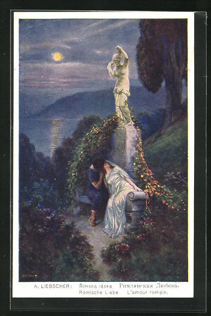 Künstler-AK Adolf Liebscher: Römische Liebe, Kuss unter Venusfigur
