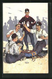 Künstler-AK Carl Moos: Grenzbesetzung 1914, schweizer Soldaten bei Kartenspiel