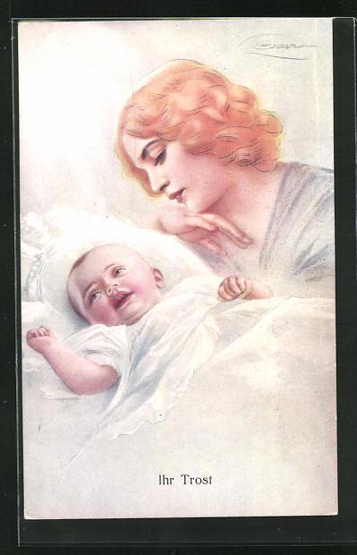 Künstler-AK G. Guerzoni: Ihr Trost, Mutter und Säugling