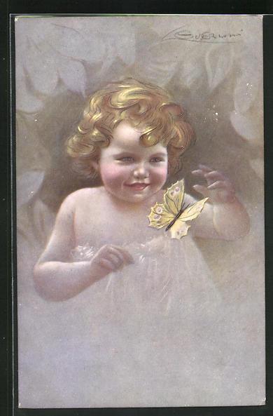 Künstler-AK G. Guerzoni: Kleinkind mit Schmetterling
