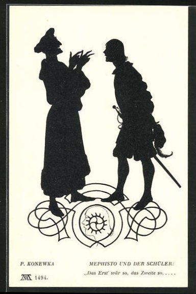 Künstler-AK Paul Konewka: Silhouetten zu Goethe`s Faust, Mephisto und der Schüler