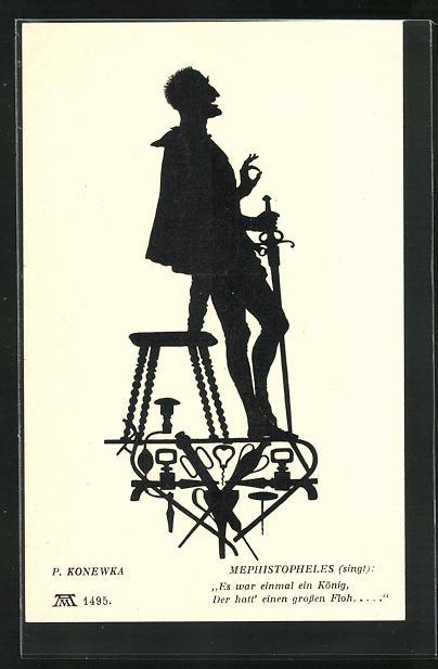 Künstler-AK Paul Konewka: Silhouetten zu Goethe`s Faust, Mephistopheles singt