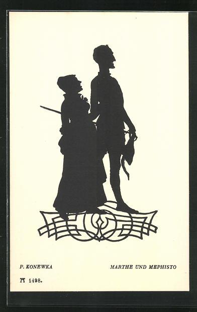 Künstler-AK Paul Konewka: Silhouetten zu Goethe`s Faust, Marthe und Mephisto