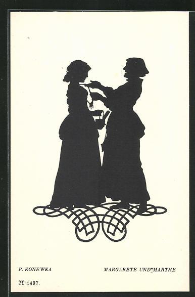 Künstler-AK Paul Konewka: Silhouetten zu Goethe`s Faust, Margarete und Marthe