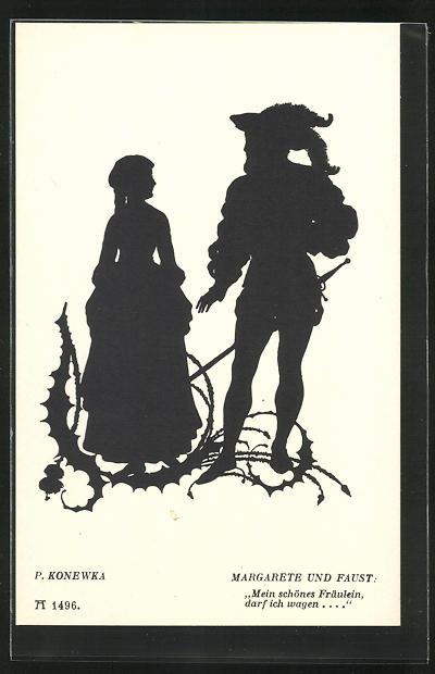 Künstler-AK Paul Konewka: Silhouetten zu Goethe`s Faust, Margarete und Faust, Mein schönes Fräulein...