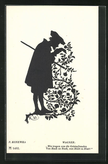 Künstler-AK Paul Konewka: Silhouetten zu Goethe`s Faust, Wagner, Wie tragen uns die Geistesfreuden